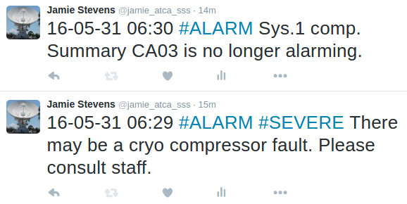 Some example tweets from the ATCA alarm Twitter feed.