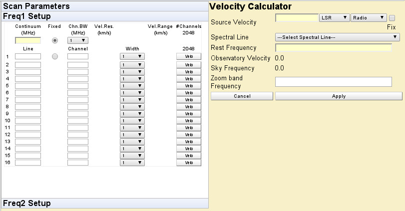 The frequency and velocity calculator view of the CABB Web Scheduler.